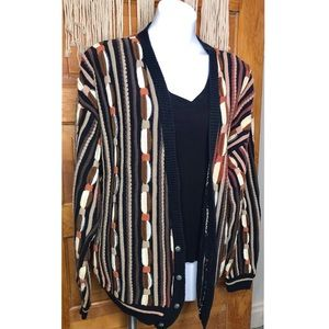Vintage Grandpa Neutral Chunky Knit Eclectic Oversized Cardigan